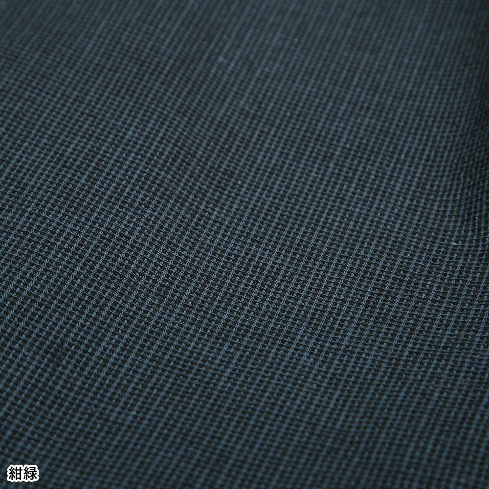 男衆格子柄しじら織麻混作務衣(銀灰・紺緑)(M-LL)