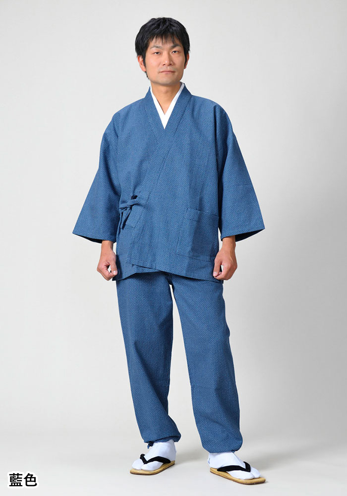 紋織作務衣 亀甲(藍色・黒地)(S-LL)