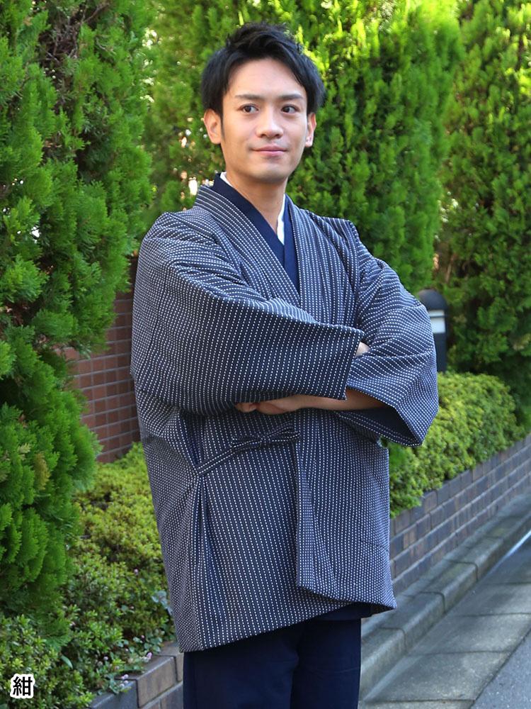 刺子織むら糸染はんてん 袖あり(紺・黒・茶)