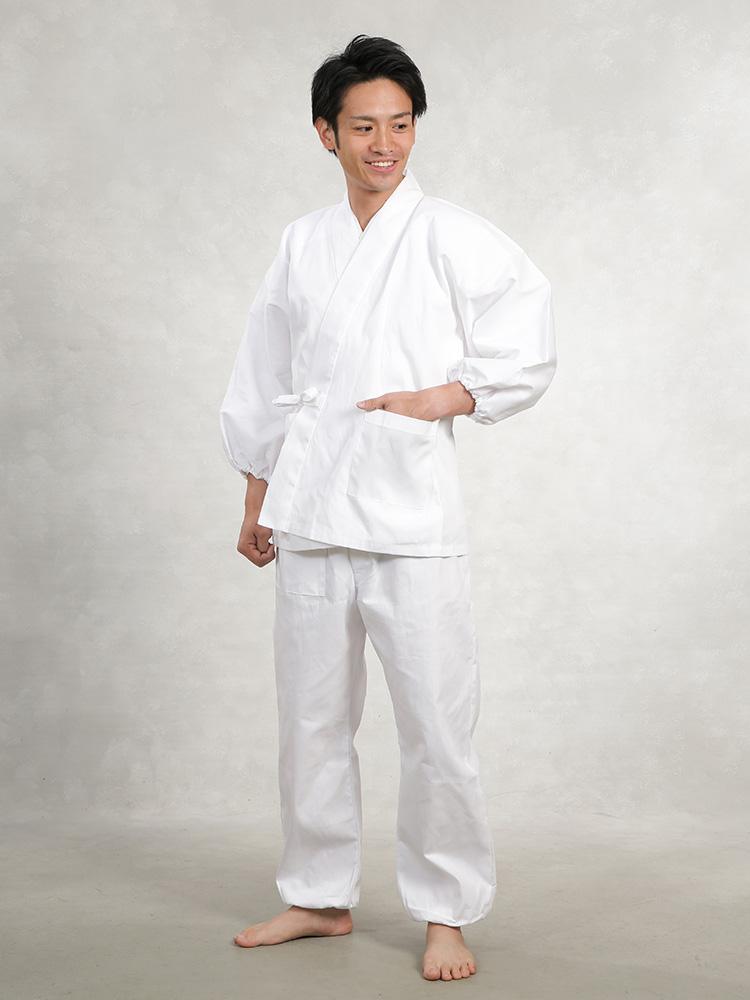 純白 綿作務衣(S-LL)