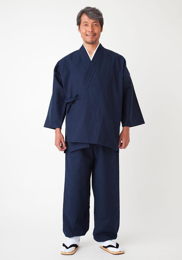 帆布作務衣 濃藍[日本製](上下同サイズセット)(S-BIG)