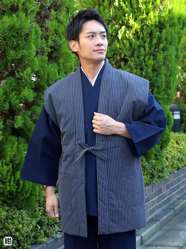 刺子織むら糸染はんてん 袖なし(紺・黒・茶)(F)