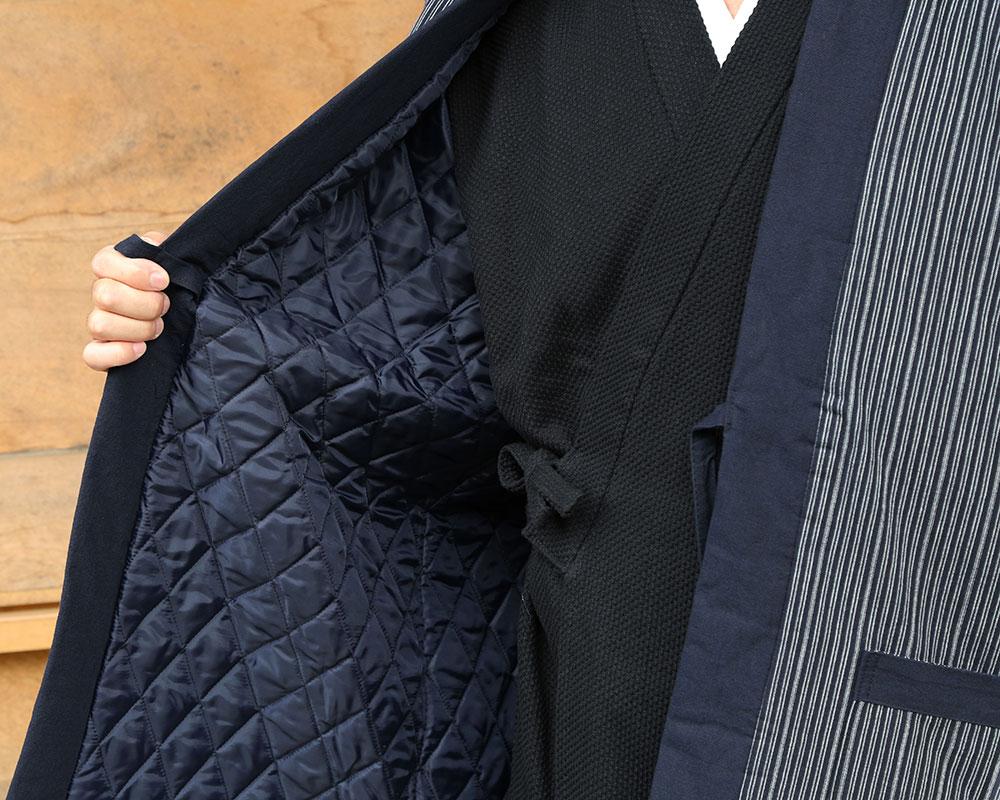 亀田縞紳士はんてん 紺(M-L)