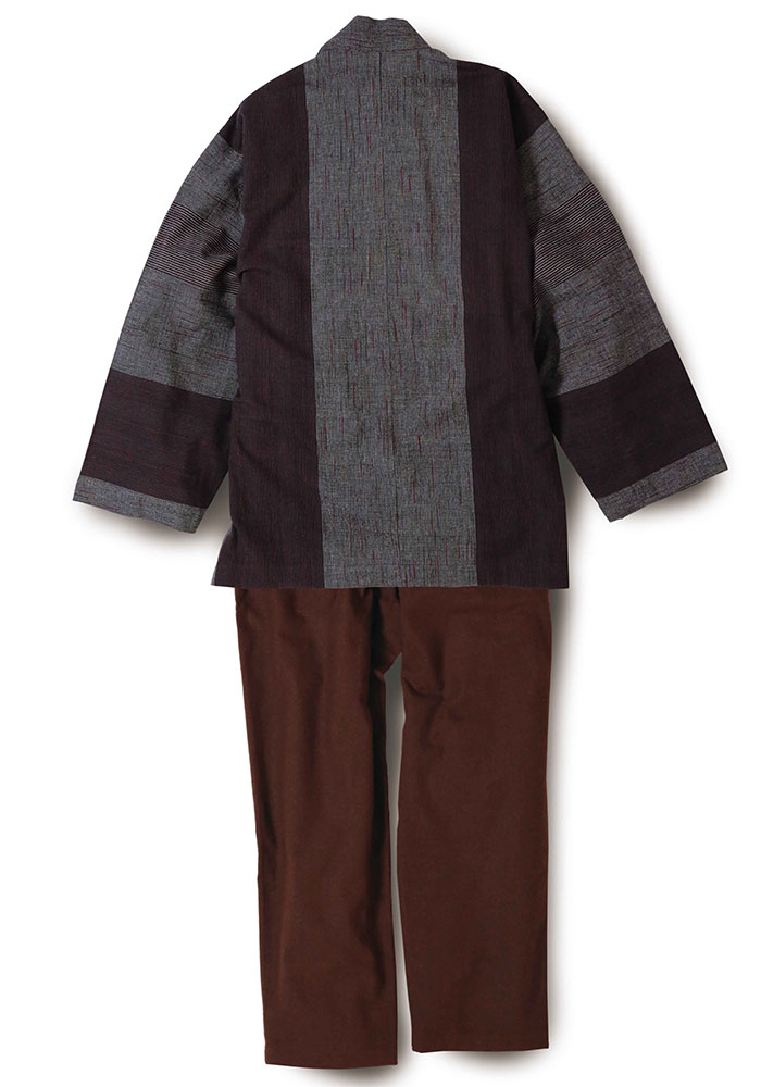 綿の作務衣 かすり調 赤茶(M-LL)
