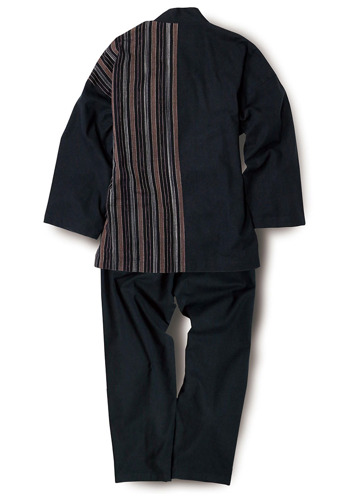 綿の作務衣 マルチストライプ(M-LL)