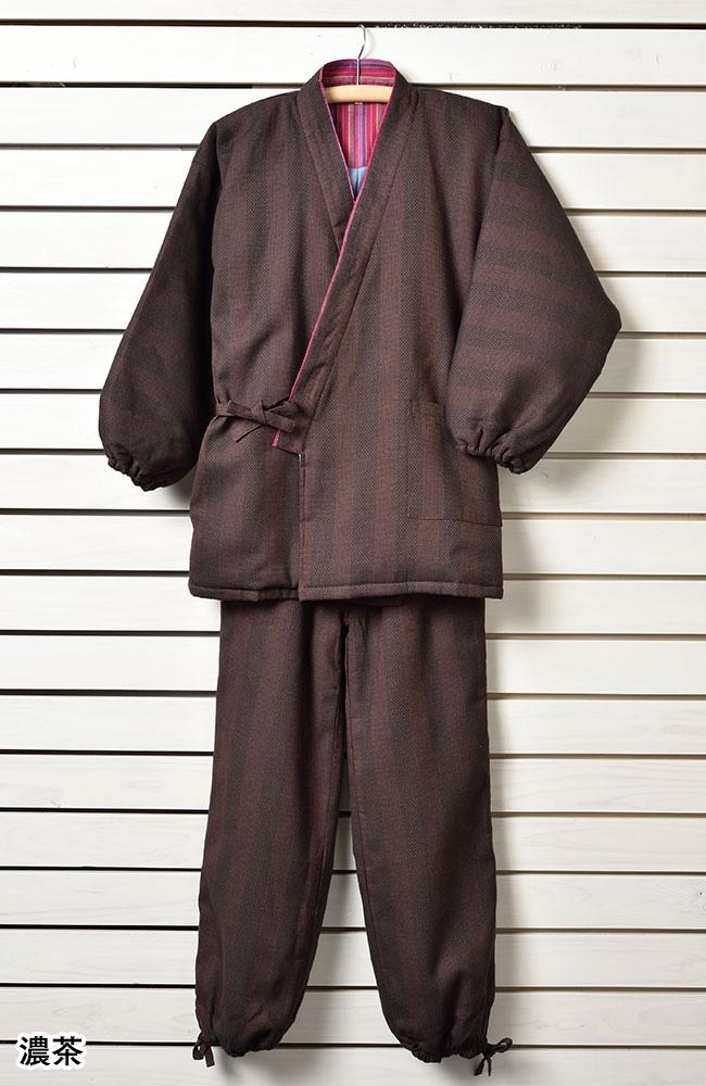 纏織中綿作務衣(濃茶・紺・黒)(M-LL)