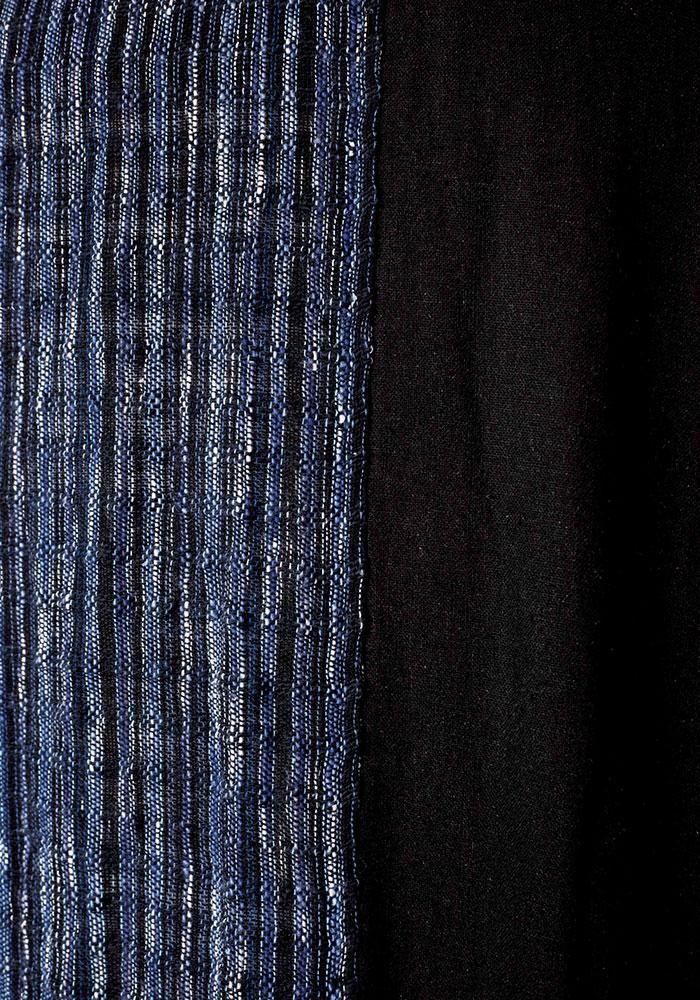 綿の作務衣 手織り 黒紺(M-LL)