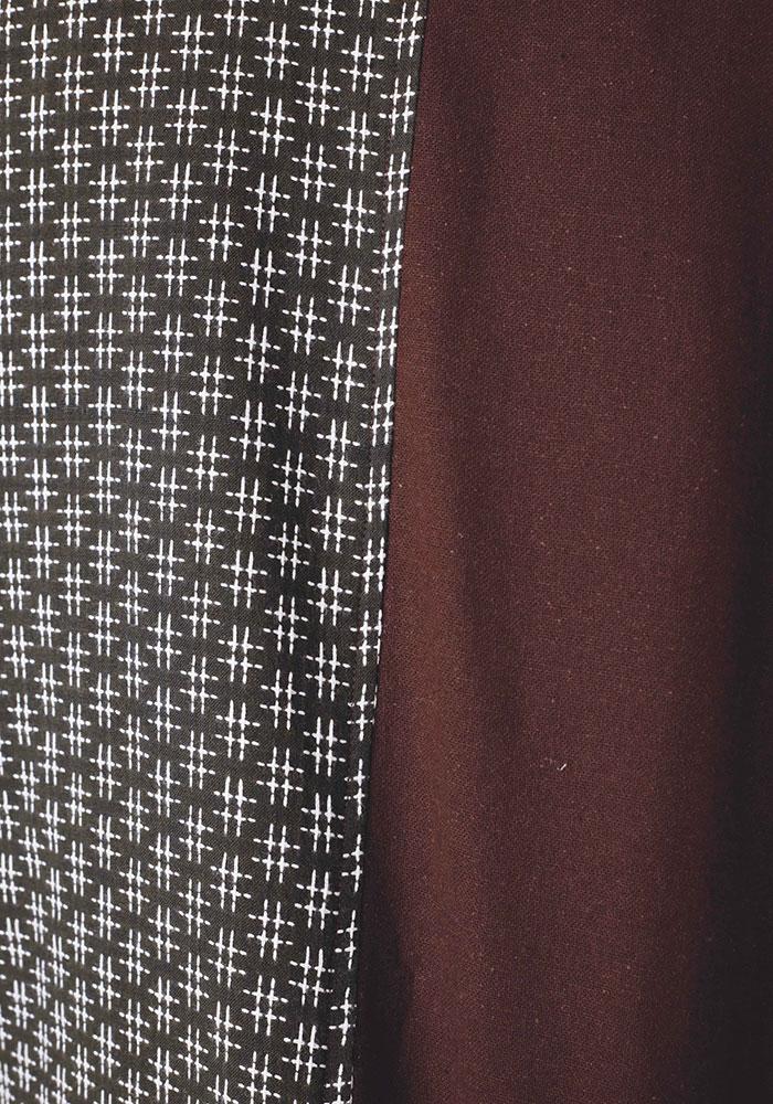 綿の作務衣 刺子風(ブラウン)(M-LL)