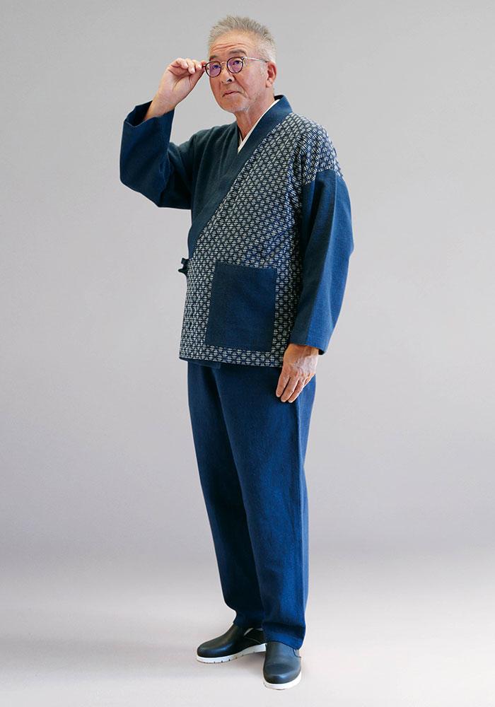綿の作務衣 刺子風(ネイビー)(M-LL)
