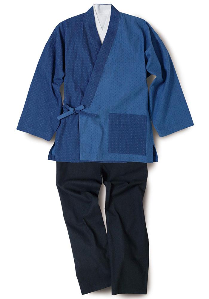 綿の作務衣 紺ドット(M-LL)
