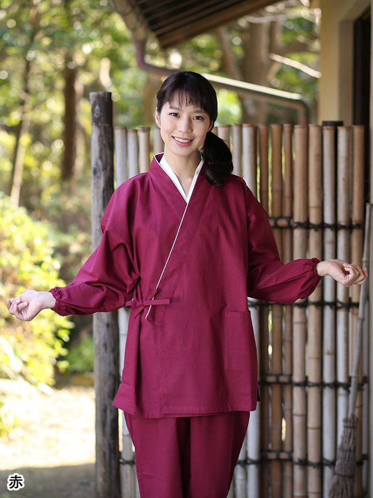 小格子作務衣 女性用(カラシ・紺・紫・赤・桃)(S-LL)