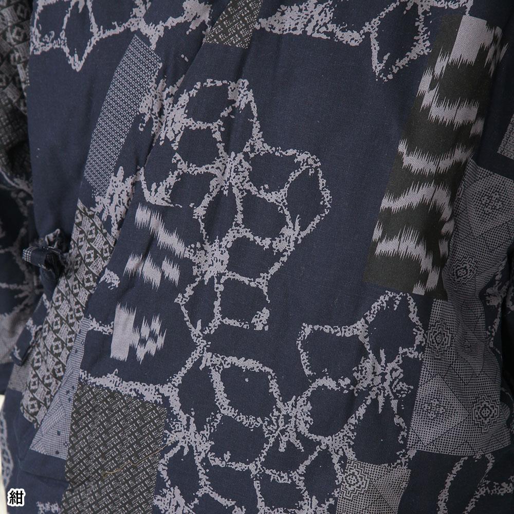 大島調プリント柄 ロングはんてん(紺・黒・赤)(M-L)