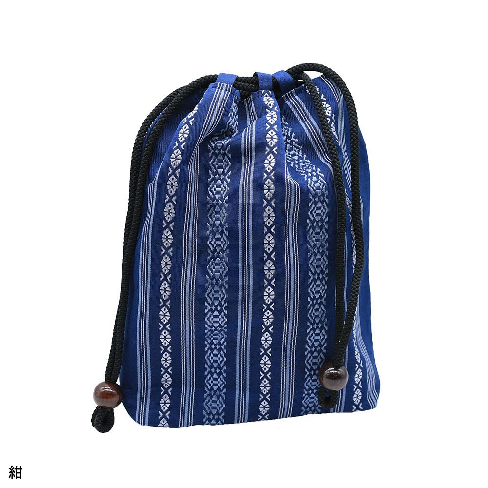 博多織り三献柄 絹信玄袋(紺・金茶・濃紺・グレー・こげ茶・ブルーグレー・緑)