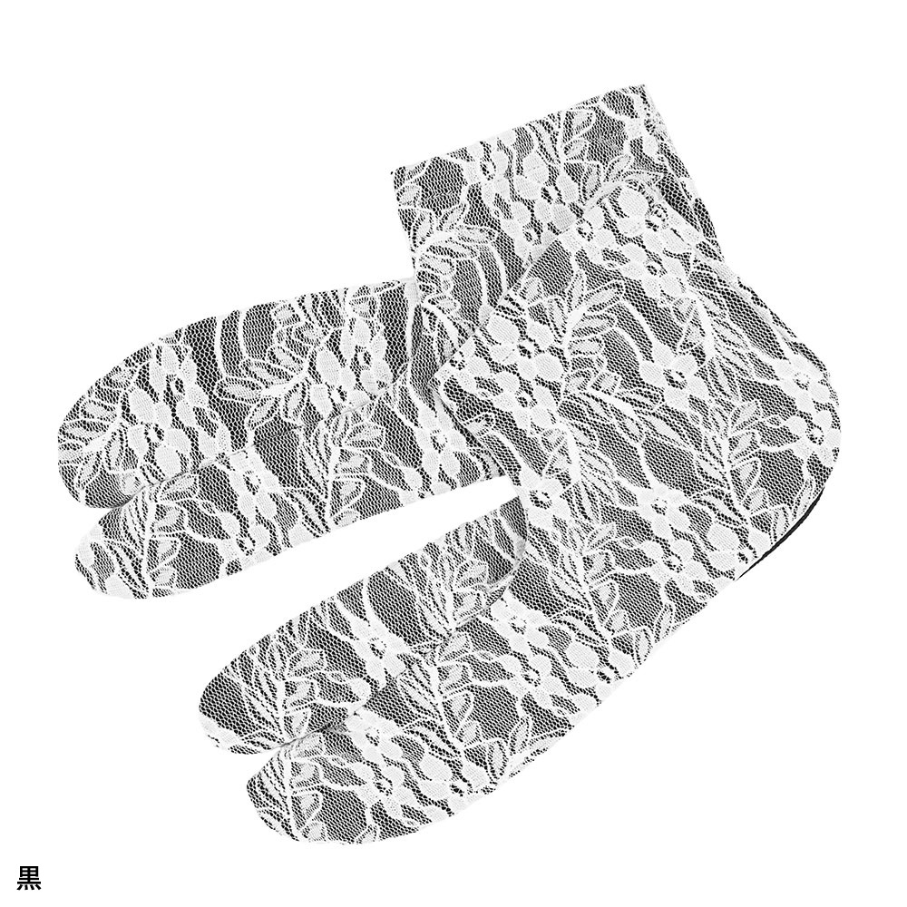 レースストレッチ足袋(白・黒)(M-L)