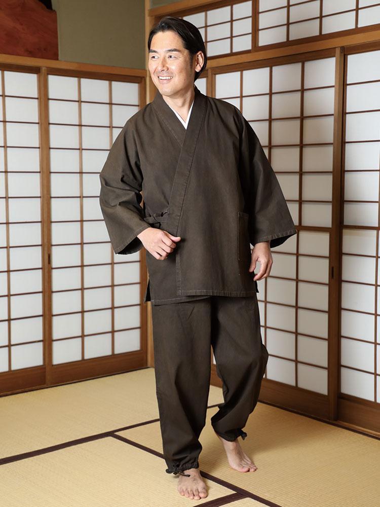 伝統の奄美大島泥染め作務衣(S-LL)