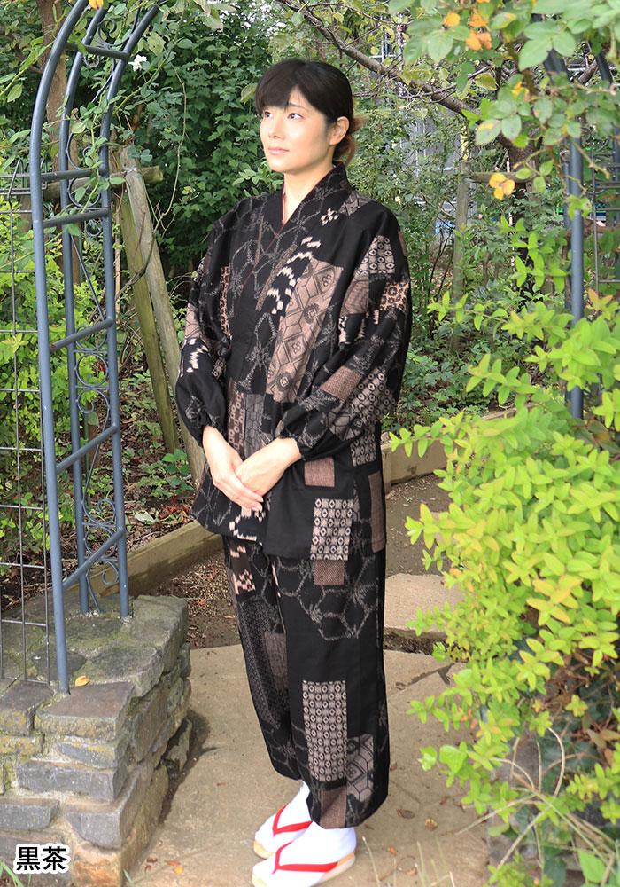 女性用 古織柄さむえ(紺・黒茶)(M-L)