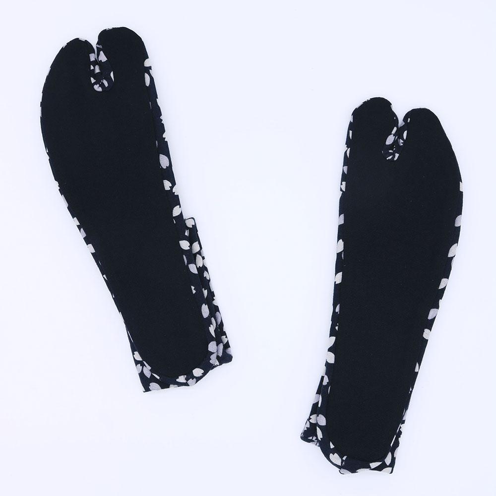 天竺ソックス足袋 桜柄(黒紫・白黒)(F)