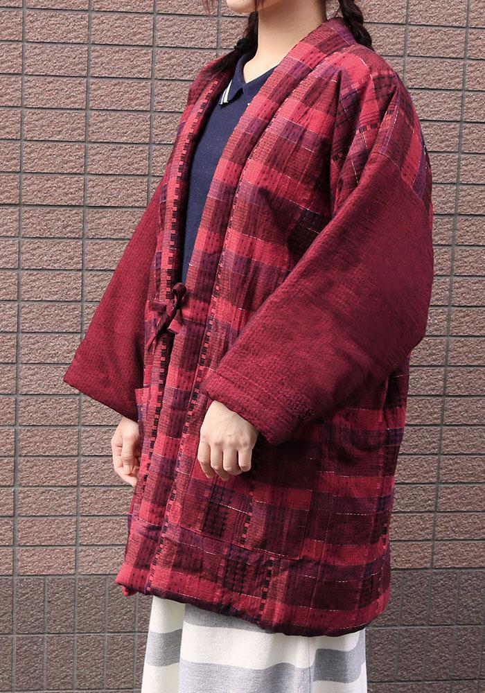 女性用 おたふくわた久留米織はんてん 赤(F)