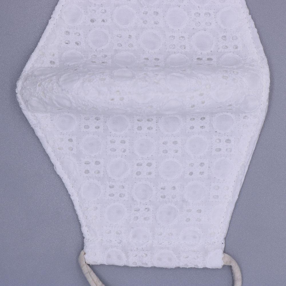 女性用マル柄レースマスク(オーガニックコットン紐)白(F)