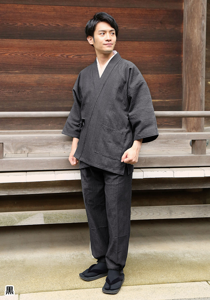 遠州 三子撚杢ドビー織作務衣(青・濃紺・茶・緑・黒)(M-LL)