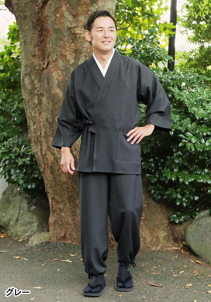 ウールライクポリエステル作務衣(濃紺・グレー・茶)(M-LL)