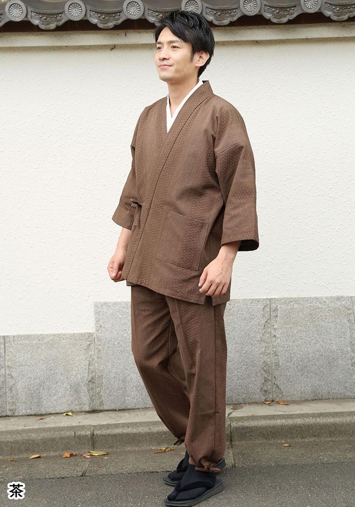 遠州 三子撚杢ドビー刺子織作務衣(紺・茶・黒)(M-LL)