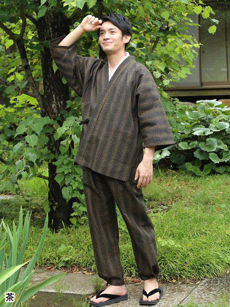 春夏 遠州総絣柄作務衣(茶・緑)(M-LL)