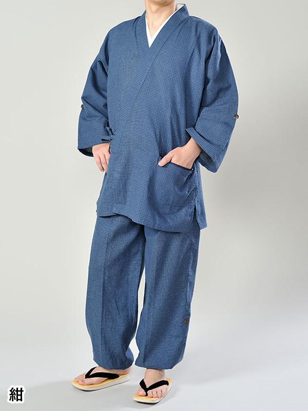 ロールアップ作務衣(紺・グレー)(M-LL)