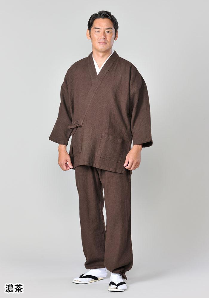 柿渋染め刺子調作務衣(金茶・濃茶)(S-XL)