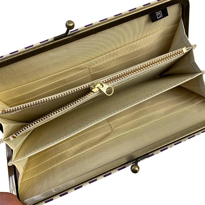 ふくれ織り 利休梅 がま口財布 長財布 緑 ギフト 箱入り お土産 京都 日本製 さんび堂