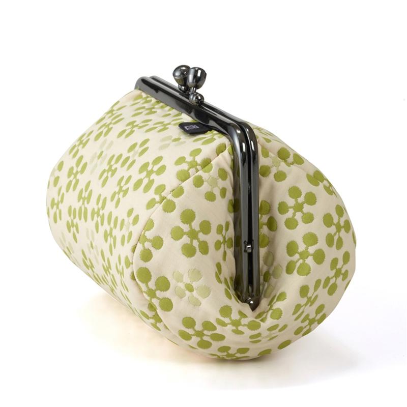 【ふくれ織りがま口】 ふくれ織り 利休梅 4.5寸俵型がま口ポーチ