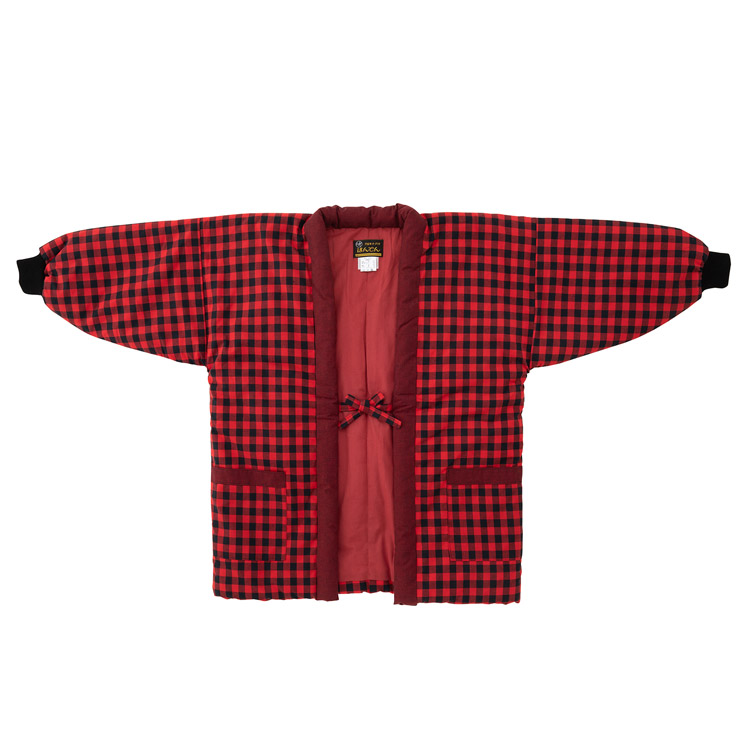 光延織物 久留米絣 半纏 黒と赤の市松柄