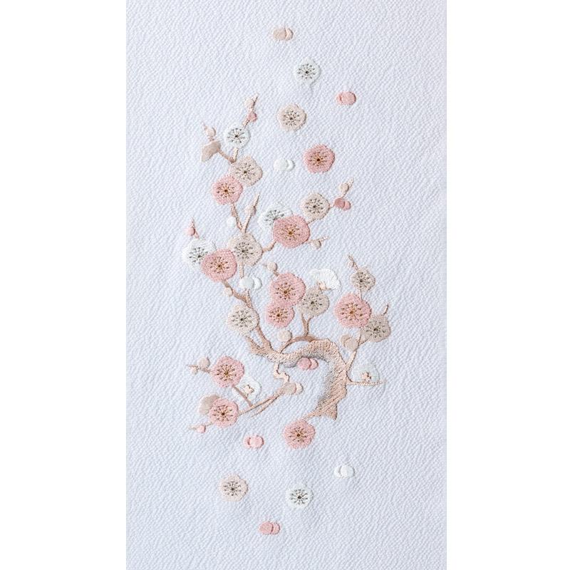 小梅 刺繍半衿 / 正絹・縮緬 / 袷用 / 白地 小梅 刺繍半衿 / 正絹・縮緬 / 袷用 / 白地 / 半襟