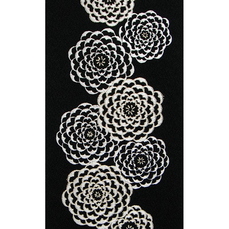 ピンポンマム 刺繍半衿 / ポリエステル縮緬 / ブライダル / 黒地×銀 ピンポンマム 刺繍半衿 / ポリエステル縮緬 / ブライダル / 黒地×銀 / 半襟