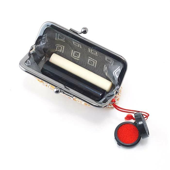ふくれ織り 七宝 3点セット 眼鏡ケース 3.3寸丸がま口 朱肉付き印鑑ケース 赤 ギフト お土産 京都 日本製 さんび堂