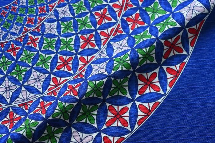49cm幅 源右衛門窯 丸皿 綿シャンタン風呂敷/ブルー 和柄 和文様