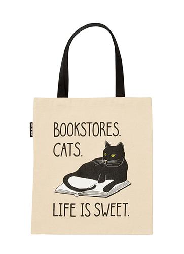 "Bookstore Cat - Tote Bag  ""ブックストアキャット"" トートバッグ"