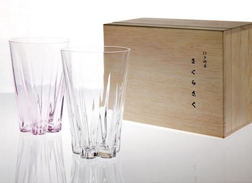 SAKURASAKU GLASS TUMBLER KOHAKU【さくらさくグラス タンブラー紅白】