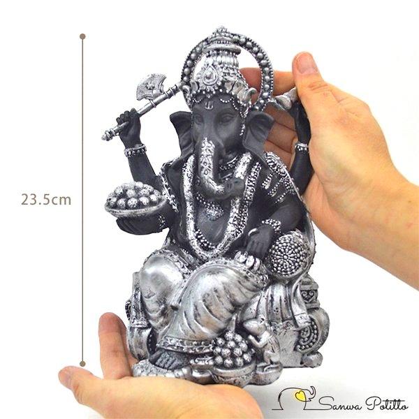 インドの神様 ガネーシャの置物 縁起物 ガネーシャ 置物 ガネーシャ像 夢を叶える象 金運アップ 開運 瞑想 商売繁盛 現世利益 ヒンドゥー教の神様 象の神様 ガナパティ 歓喜天 聖天 T18181 高さ23.5cm シルバー 銀 ブラック