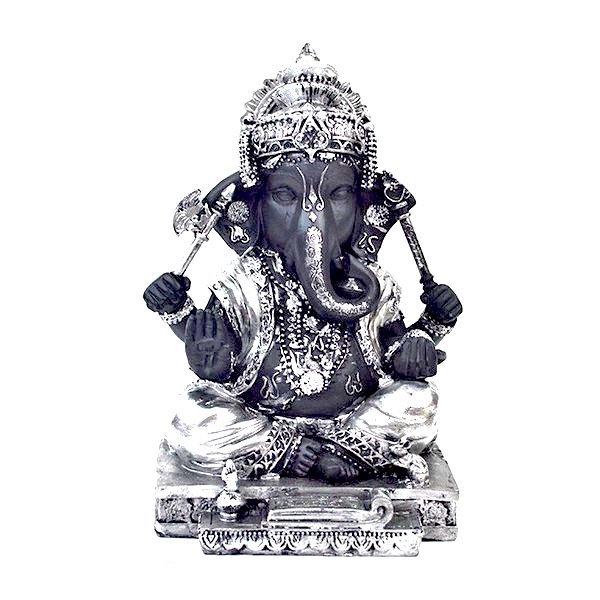 インドの神様 ガネーシャの置物 ガネーシャ 置物 ガネーシャ像 夢を叶える象 金運アップ 開運 瞑想 商売繁盛 現世利益 ヒンドゥー教の神様 象の神様 ゾウの神様 ガナパティ 歓喜天 聖天 T18180 高さ23.5cm シルバー 銀 ブラック