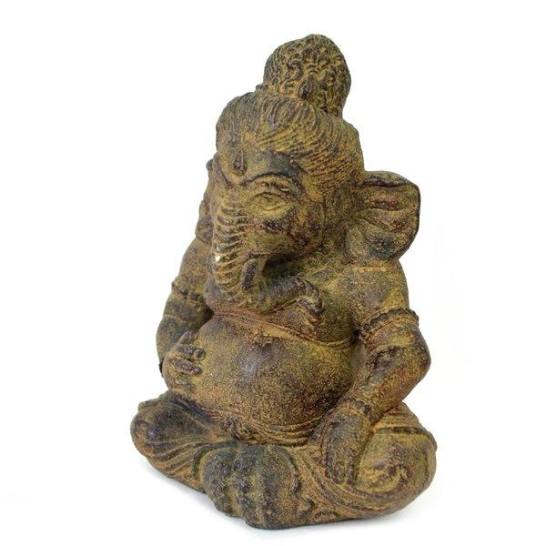 インドの神様 ガネーシャ 置物 縁起物 083-115 ガネーシャ像 夢を叶える象 金運アップ 開運 ガナパティ 歓喜天 聖天 石像 ぽっちゃり