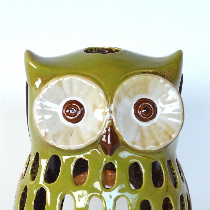 フクロウのキャンドルホルダー 大 フクロウ 縁起物 キャンドル ろうそく ランタン ホルダー 福郎 鳥 陶器