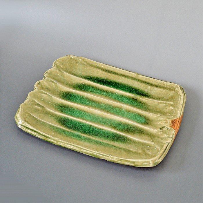 信楽焼 ビードロソギ 料亭 業務用食器 ホテル 旅館 飲食店 日本製 11.0 長角皿 しがらきやき 自然釉 灰釉 ビードロ釉 和食器 陶器 スカーレット 滋賀