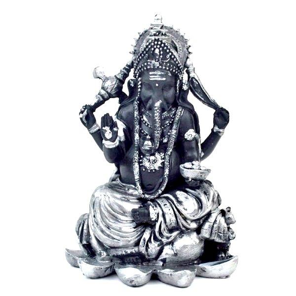 インドの神様 縁起物 ガネーシャの置物 ガネーシャ 置物 ガネーシャ像 夢を叶える象 金運アップ 開運 瞑想 商売繁盛 現世利益 ヒンドゥー教の神様 象の神様 ゾウの神様 ガナパティ 歓喜天 聖天 T18182 高さ22.5cm シルバー 銀 ブラック
