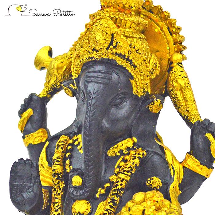 インドの神様 縁起物 ガネーシャの置物 ガネーシャ 置物 ガネーシャ像 夢を叶える象 金運アップ 開運 瞑想 商売繁盛 現世利益 ヒンドゥー教の神様 縁起物 象の神様 ガナパティ 歓喜天 聖天 L18086 高さ14.5cm ゴールド 金 ブラック