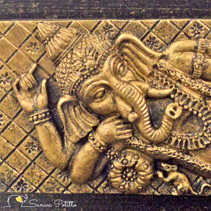 インドの神様 縁起物 ガネーシャの置物 ガネーシャ 置物 ガネーシャ像 夢を叶える象 金運アップ 開運 瞑想 商売繁盛 現世利益 ヒンドゥー教の神様 象の神様 ガナパティ 歓喜天 聖天 J18080 高さ21.5cm ゴールド 金