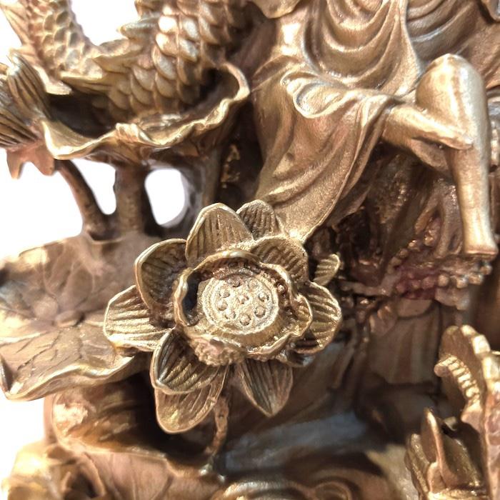 真鍮製 黄銅 オブジェ 龍と観音様 観音菩薩 観世音菩薩 観自在菩薩 観音様 仏  金運 201903Y6-2 真鍮 ゴールド アンティーク 置き物 オブジェ 開運 財運  金