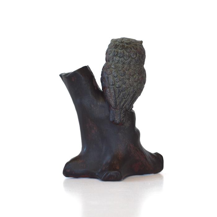 フクロウ 梟 ふくろう ペン立て 縁起物 ミニチュアアニマル 置物 オブジェ かわいい ギフト 手のひらサイズ