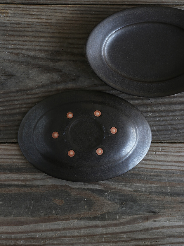 Awabi wareオーバル皿Sマットブラック