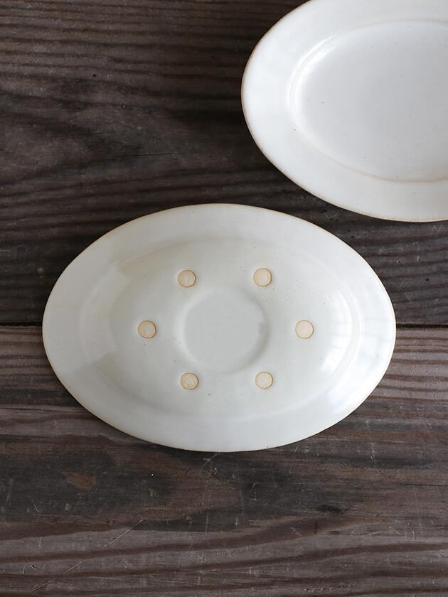 Awabi wareオーバル皿S白磁